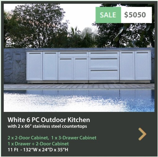 5050 4 Life Outdoor Product Image 6 PC Outdoor Kitchen White 2x2-door Cabinet 1xDrawer Plus 2-door 1x3 Drawer Cabinet 2x66 Inch Stainless Countertops