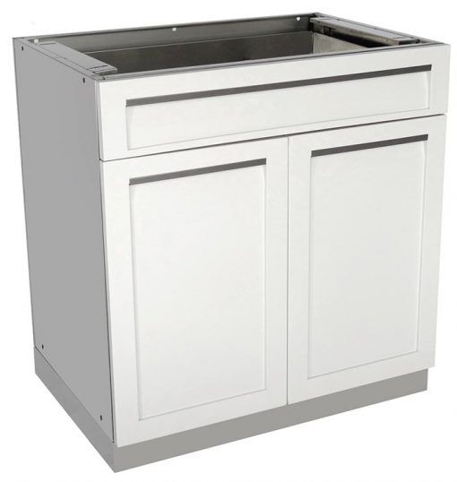 "White 5 PC: 2 Door Cabinet, Drawer + 2-door, Kamado Cabinet, 2x34""Stainless Countertops 6"