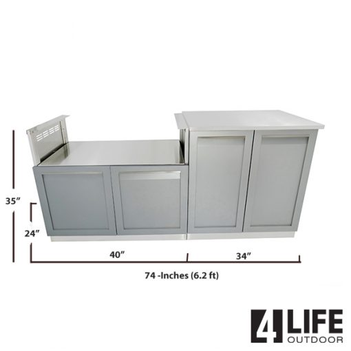 BBQ grill cabinets with stainless countertop