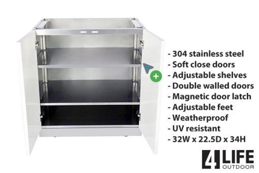 - 304 stainless steel - Soft close doors - Adjustable shelves - Double walled doors - Magnetic door latch - Adjustable feet - Weatherproof - UV resistant