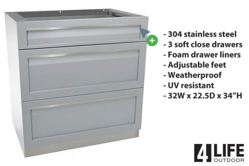 Gray 5 PC Outdoor kitchen Island: 1 x 2-Door Cabinet, 1 x 3 Drawer Cabinet, 1 x BBQ, 1 x Kamado, 1 x side panel 13