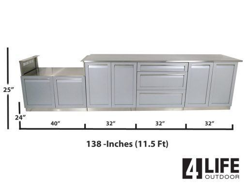"Gray 5 PC: BBQ Grill Cabinet, 2 x 2-Door Cabinet, 3 Drawer Cabinet, 98"" Stainless Countertop 14"
