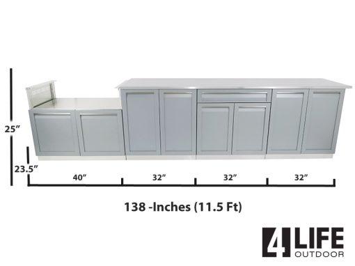 "Gray 5 PC: BBQ Grill Cabinet, 2 x 2-Door Cabinet, Drawer + 2-door Cabinet, 98"" Stainless Countertop 13"