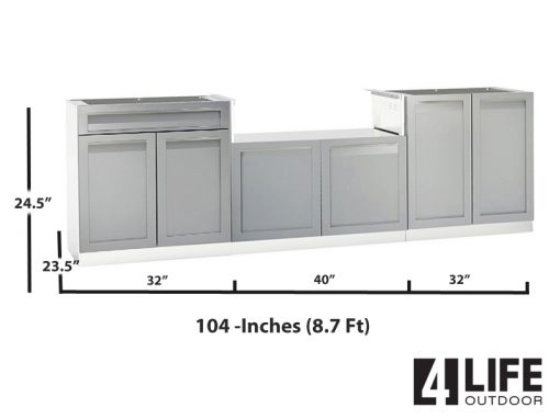 Gray stainless outdoor kitchen BBQ Cabinet 2 door drawer