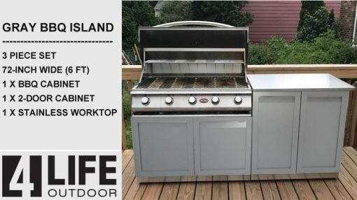 3 pc Gray BBQ Grill Outdoor Island: 72-inch w/ 2 cabinets & stainless countertop