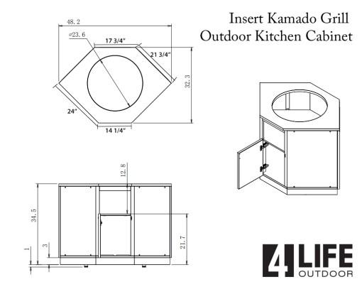 Dealer Design - Zury - Howard Mofshin - Gray 4 PC Outdoor kitchen: 1xBBQ Grill Cabinet, 1 x 3-Drawer Cabinet, 2 x 2-Door Cabinet (Copy) 18