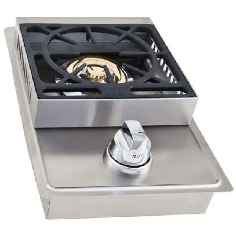 Side burner within outdoor kitchen cabinets 3