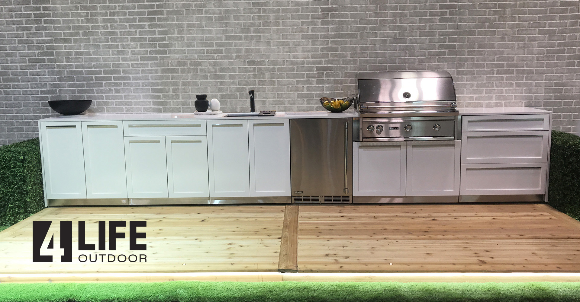 White Stainless Steel Outdoor Kitchen Cabinets 1
