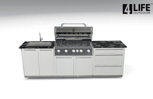 White 3 PC Outdoor Kitchen: BBQ Grill Cabinet, 3 Drawer, 2-Door Cabinet 11