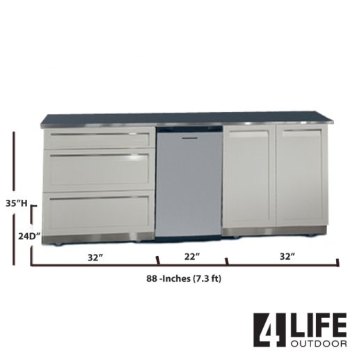 "White 3 PC Outdoor Kitchen Island: 2-Door Cabinet, 3-Drawer, 88"" Stainless Countertop 4"