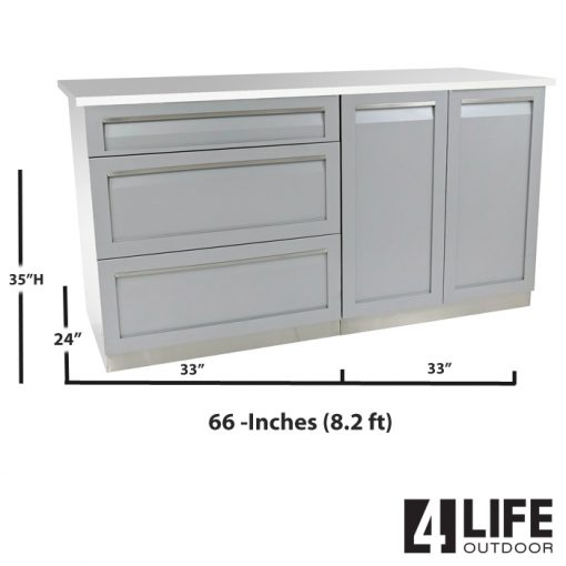 Gray 3 PC Outdoor Kitchen: 1x3 Drawer Cabinet, 1x2-Door Cabinet, 1 x 66-Inch Stainless Countertop 11