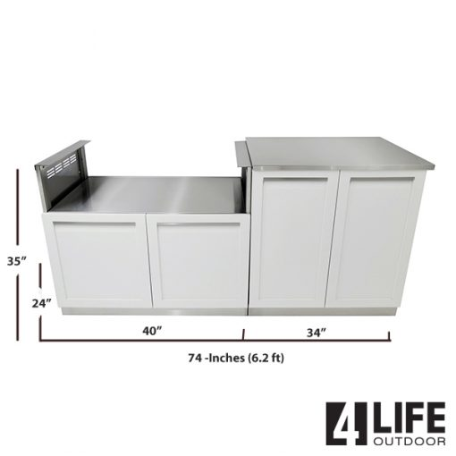 White 3 PC Outdoor Kitchen Set: BBQ Grill Cabinet, 2-door Cabinet & Stainless Countertop 7