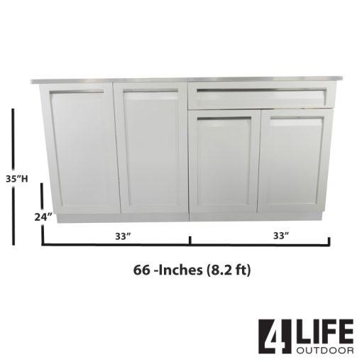 White 3 PC: 2-door cabinet, Drawer+2 Door Cabinet & Stainless Countertop 9