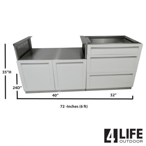 White 2 PC Outdoor Kitchen: BBQ Grill Cabinet, 3 Drawer Cabinet 7