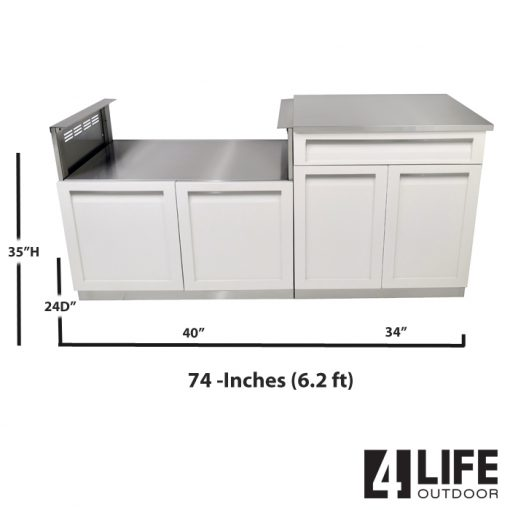 White 3 PC: BBQ Grill Cabinet, Drawer+2 door cabinet & stainless countertop 11