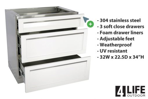 3 drawer stainless steel white cabinet