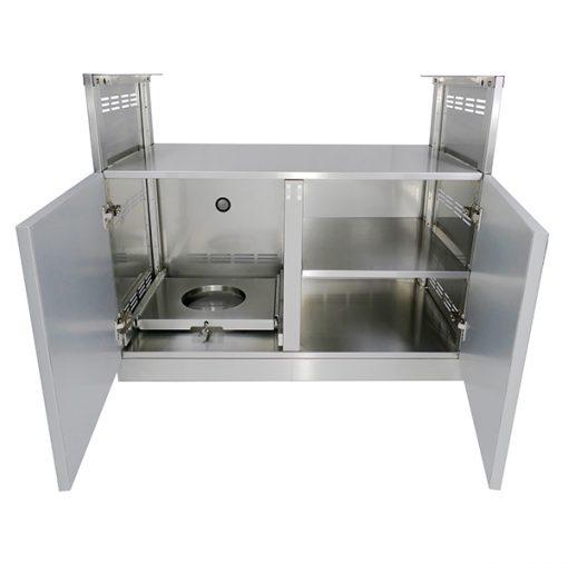 """Gray 9 PC: 2 Door Cabinet, 3 Drawer Cabinet, Drawer+2-door, Kamado 2x66"""" Stainless Countertop 9"""