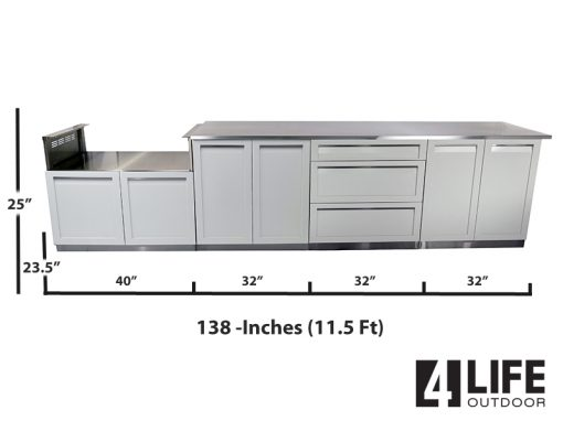 White 2 x 2door, 3 drawer BBQ 98 top measurements