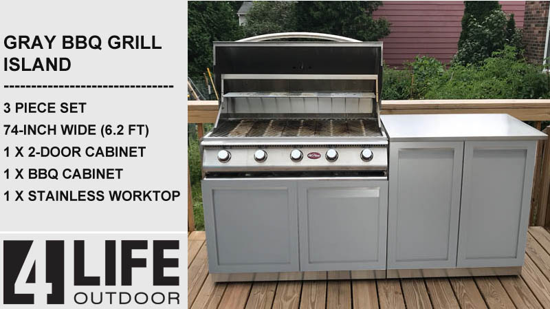 "Gray 5 PC Outdoor Kitchen: BBQ Grill Cabinet, 2-Door Cabinet, 3-drawer Cabinet, 2 x 34"" Stainless Countertops 20"