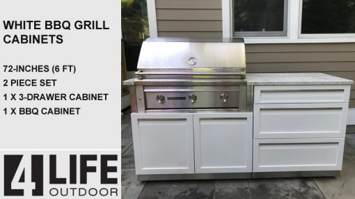 white outdoor kitchen BBQ cabinet 3 drawer stainless steel cabinets