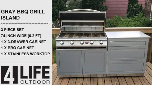 Gray 3 PC: BBQ Grill Cabinet, 3 Drawer Cabinet & Stainless Countertop 10