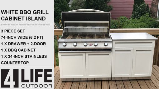 white outdoor kitchen with drawer and stainless countertop