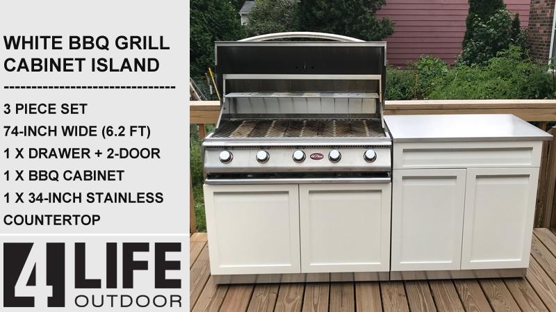 White 2 PC Outdoor Kitchen: BBQ Cabinet, Drawer+2-door Cabinet Outdoor Kitchen 14