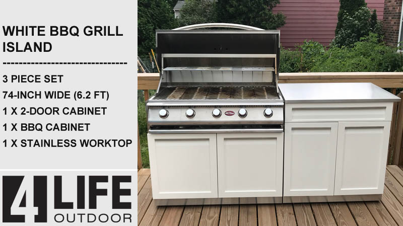 "Gray 5 PC Outdoor Kitchen: BBQ Grill Cabinet, 2-Door Cabinet, 3-drawer Cabinet, 2 x 34"" Stainless Countertops 21"