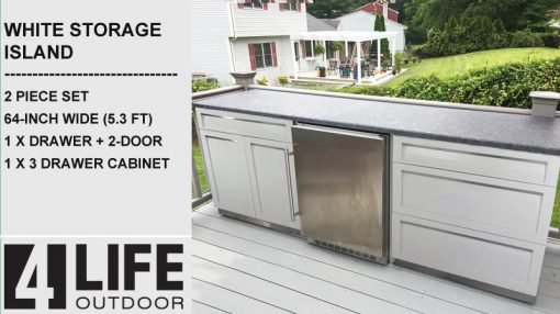 Outdoor kitchen cabinets white stainless steel cabinets with fridge and stone countertop