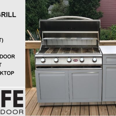 Gray outdoor kitchen Grill with Drawer and 34 stainless countertop
