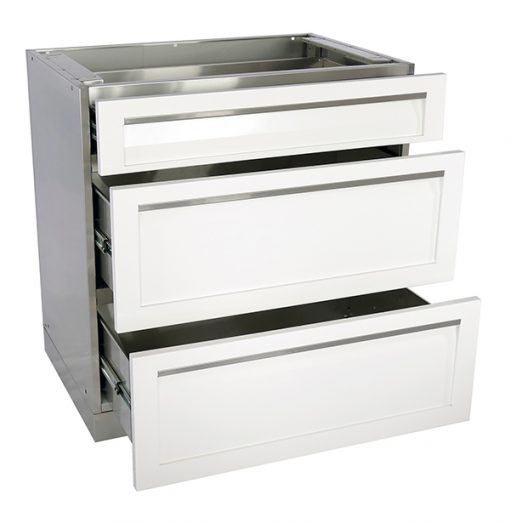 W40003 - 3 Drawer Cabinet White Stainless steel Open