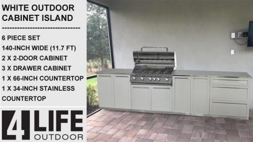 """White 6 PC: BBQ Grill Cabinet, 2 x 2-Door Cabinet, 3 Drawer Cabinet, 34""""& 66"""" Stainless Countertop 11"""