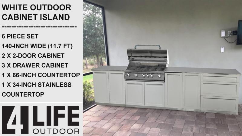 "White 6 PC: 2 Door Cabinet, 3 Drawer Cabinet, Drawer+2-door, 1 x 88"" & 1x34""Stainless Countertop 8"