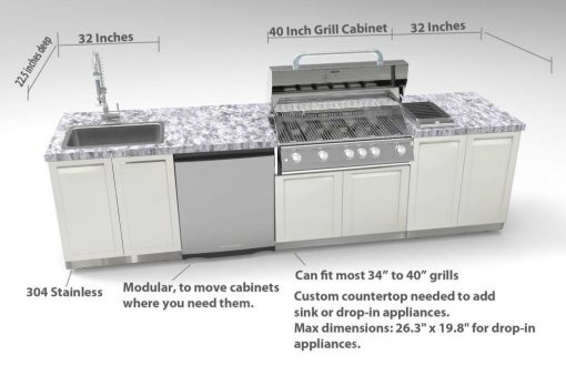 White 5 PC Dual Grill Outdoor Kitchen: BBQ Cabinet, Kamado Corner Cabinet, 3 Drawer Cabinet, Drawer + 2-door Cabinet, Side Panel 32