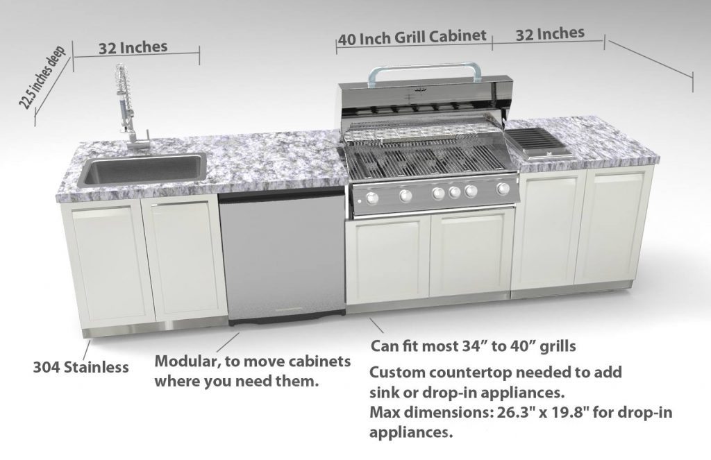 Gray Bbq Grill Stainless Steel Outdoor Kitchen Cabinet G40004 4 Life Outdoor Inc