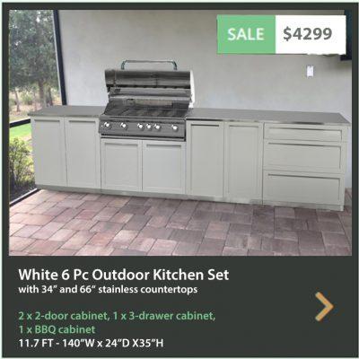 4 Life Outdoor Product Image 6 PC white Outdoor kitchen 2 x 2 door BBQ 3 drw 34 66 tops