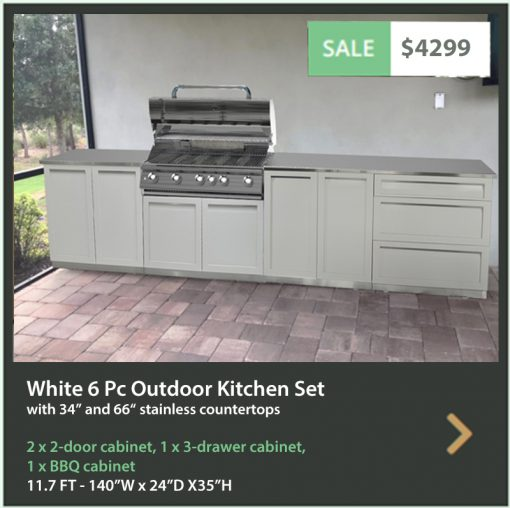 4 Life Outdoor Product Image 6 PC white Outdoor kitchen 2 x 2 door BBQ 3 drw 34 66 tops