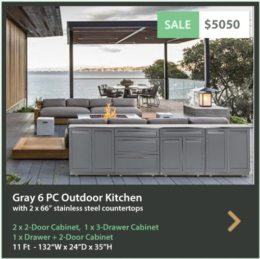5050 4 Life Outdoor Product Image 6 PC Outdoor Kitchen Gray 2x2 Door 1xDrawer Plus 2-door 1x3-Drawer Cabinet 2x66 inch stainless countertops