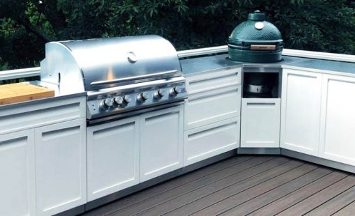 White Kamado Grill Corner Stainless Steel Outdoor Kitchen Cabinet - W40056 7