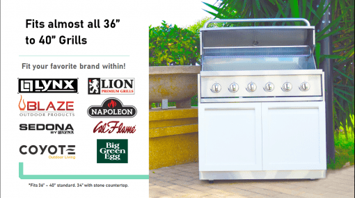 "White 6 PC Kamado Outdoor Kitchen: 2 Door Cabinet, 3 Drawer Cabinet, 34"" & 88"" Stainless Countertop 20"