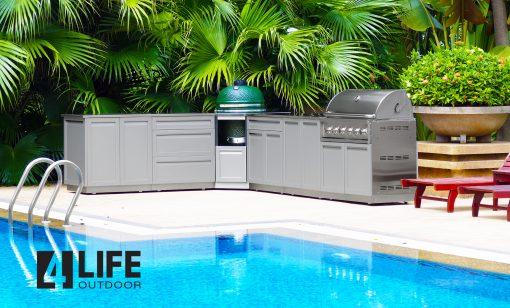 Gray 3 PC Outdoor Kitchen: Drawer + 2-door Cabinet, Corner Back panel, 34 top 9