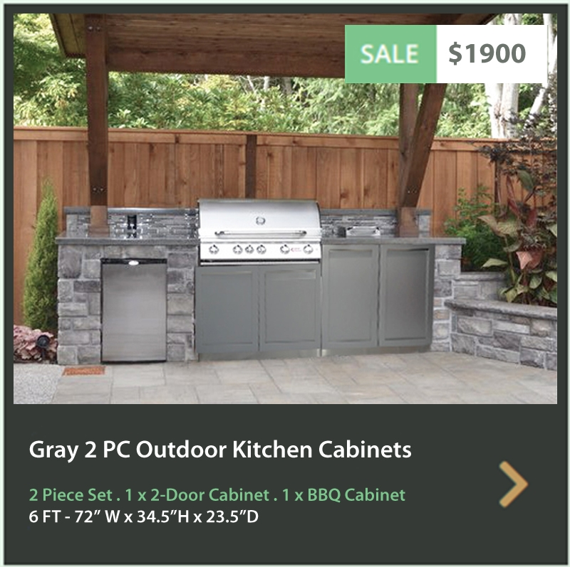 4 Life Outdoor Product Image 2 PC set Gray stainless steel cabinets 2 door and BBQ cabinet
