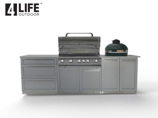 Gray 3 PC BBQ Grill Outdoor Kitchen Cabinets: BBQ Grill Cabinet, 2 door cabinet, 3 drawer cabinet 8