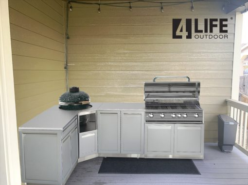 Gray 7 PC Outdoor Kitchen: 2 Door Cabinet, Kamado Cabinet, Drawer + 2-door Cabinet, side panel, countertops 5222020 15