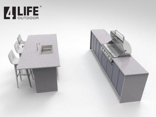 Gray 6 PC Outdoor Kitchen: BBQ Cabinet 3x Drawer + 2 Door Cabinets, 2-door Cabinet, 3-drawer cabinet 5152020 18