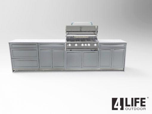 Gray 6 PC Outdoor Kitchen: BBQ Cabinet 3x Drawer + 2 Door Cabinets, 2-door Cabinet, 3-drawer cabinet 5152020 19