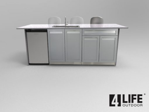 Gray 6 PC Outdoor Kitchen: BBQ Cabinet 3x Drawer + 2 Door Cabinets, 2-door Cabinet, 3-drawer cabinet 5152020 20