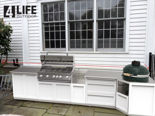 White 8 PC Outdoor Kitchen: BBQ Cabinet, Kamado, 2 Door Cabinets, 3 Drawer Cabinet 552020 11