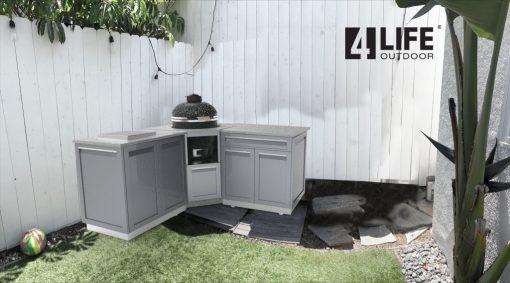 Gray 8 PC Outdoor Kitchen: 2 Door Cabinet, Kamado Cabinet, Drawer + 2-door Cabinet, countertops 5172020 16