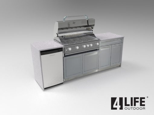 Gray 2 PC BBQ Grill Cabinets: BBQ Grill Cabinet, Drawer+2 door cabinet 5